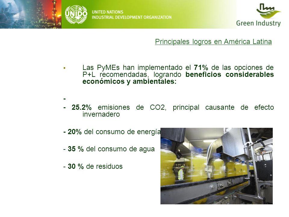 Principales logros en América Latina Las PyMEs han implementado el 71% de las opciones de P+L recomendadas, logrando beneficios considerables económic