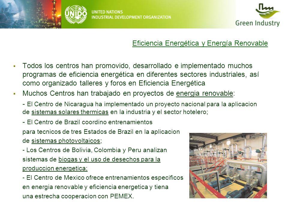 Eficiencia Energética y Energía Renovable Todos los centros han promovido, desarrollado e implementado muchos programas de eficiencia energética en di