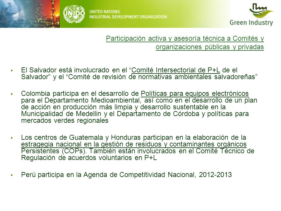 Participación activa y asesoría técnica a Comités y organizaciones públicas y privadas El Salvador está involucrado en el Comité Intersectorial de P+L