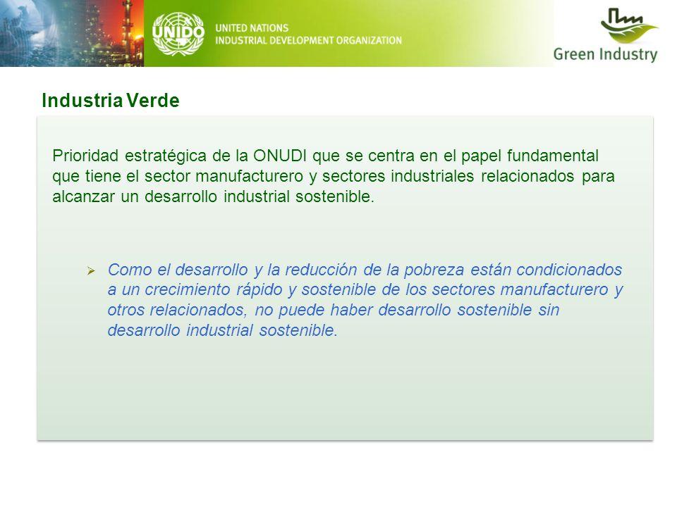 Industria Verde 2 Prioridad estratégica de la ONUDI que se centra en el papel fundamental que tiene el sector manufacturero y sectores industriales re