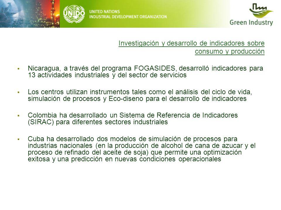 Investigación y desarrollo de indicadores sobre consumo y producción Nicaragua, a través del programa FOGASIDES, desarrolló indicadores para 13 activi