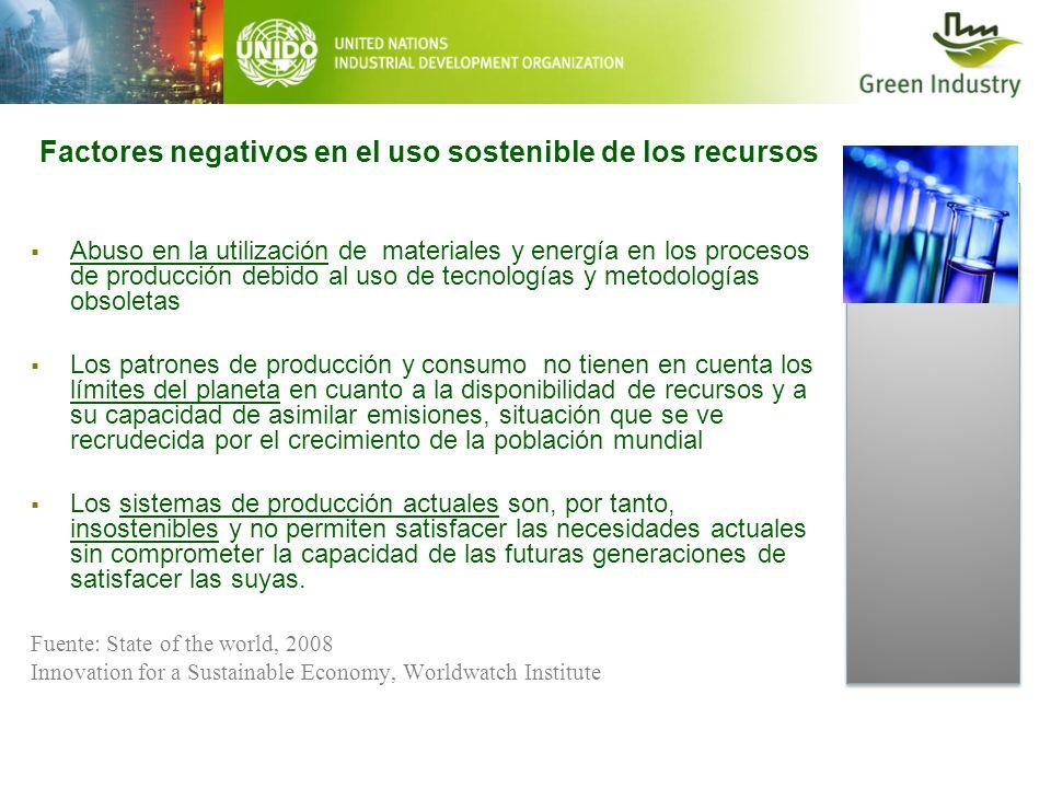 Factores negativos en el uso sostenible de los recursos Abuso en la utilización de materiales y energía en los procesos de producción debido al uso de