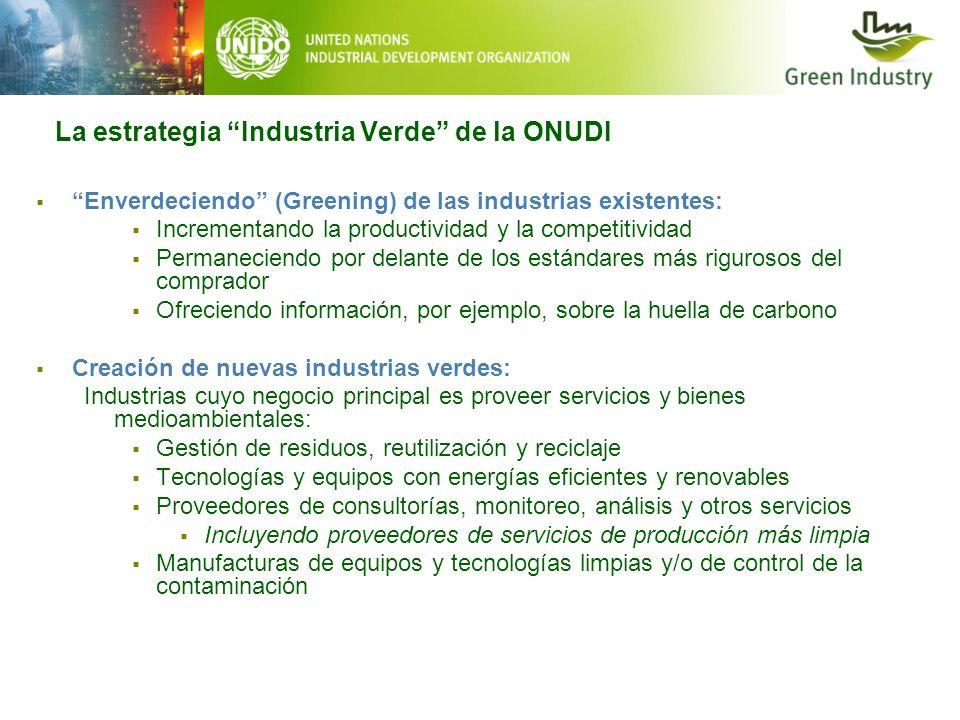 La estrategia Industria Verde de la ONUDI Enverdeciendo (Greening) de las industrias existentes: Incrementando la productividad y la competitividad Pe