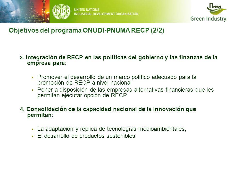 3. Integración de RECP en las políticas del gobierno y las finanzas de la empresa para: Promover el desarrollo de un marco político adecuado para la p