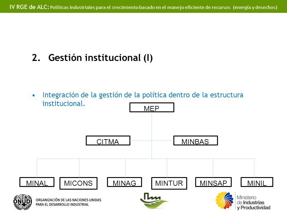 IV RGE de ALC: Políticas industriales para el crecimiento basado en el manejo eficiente de recursos (energía y desechos) 2.Gestión institucional (I) Integración de la gestión de la política dentro de la estructura institucional.