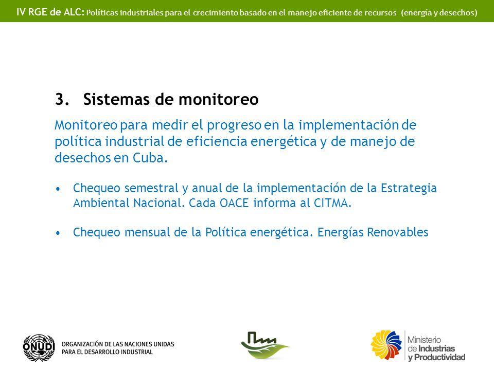 IV RGE de ALC: Políticas industriales para el crecimiento basado en el manejo eficiente de recursos (energía y desechos) 3.Sistemas de monitoreo Monitoreo para medir el progreso en la implementación de política industrial de eficiencia energética y de manejo de desechos en Cuba.