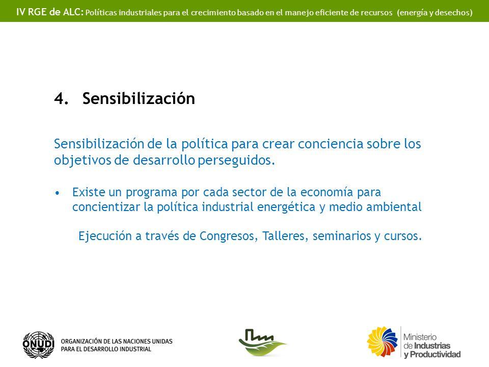 IV RGE de ALC: Políticas industriales para el crecimiento basado en el manejo eficiente de recursos (energía y desechos) 4.Sensibilización Sensibiliza