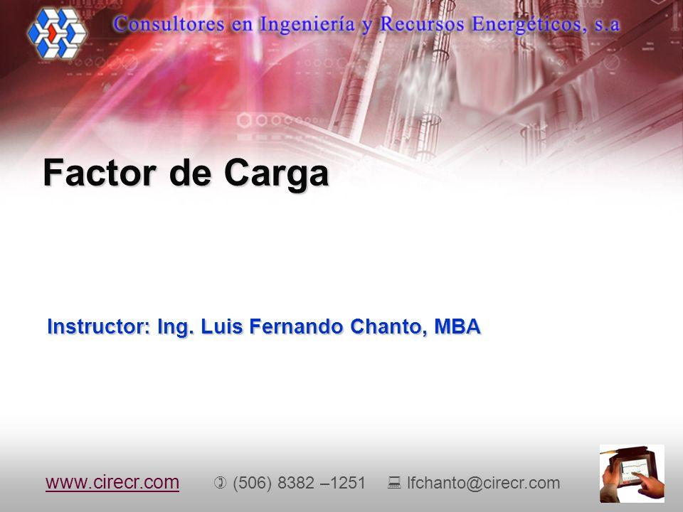 Instructor: Ing. Luis Fernando Chanto, MBA Factor de Carga www.cirecr.comwww.cirecr.com (506) 8382 –1251 lfchanto@cirecr.com