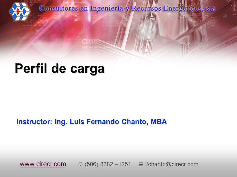 Instructor: Ing. Luis Fernando Chanto, MBA Perfil de carga www.cirecr.comwww.cirecr.com (506) 8382 –1251 lfchanto@cirecr.com