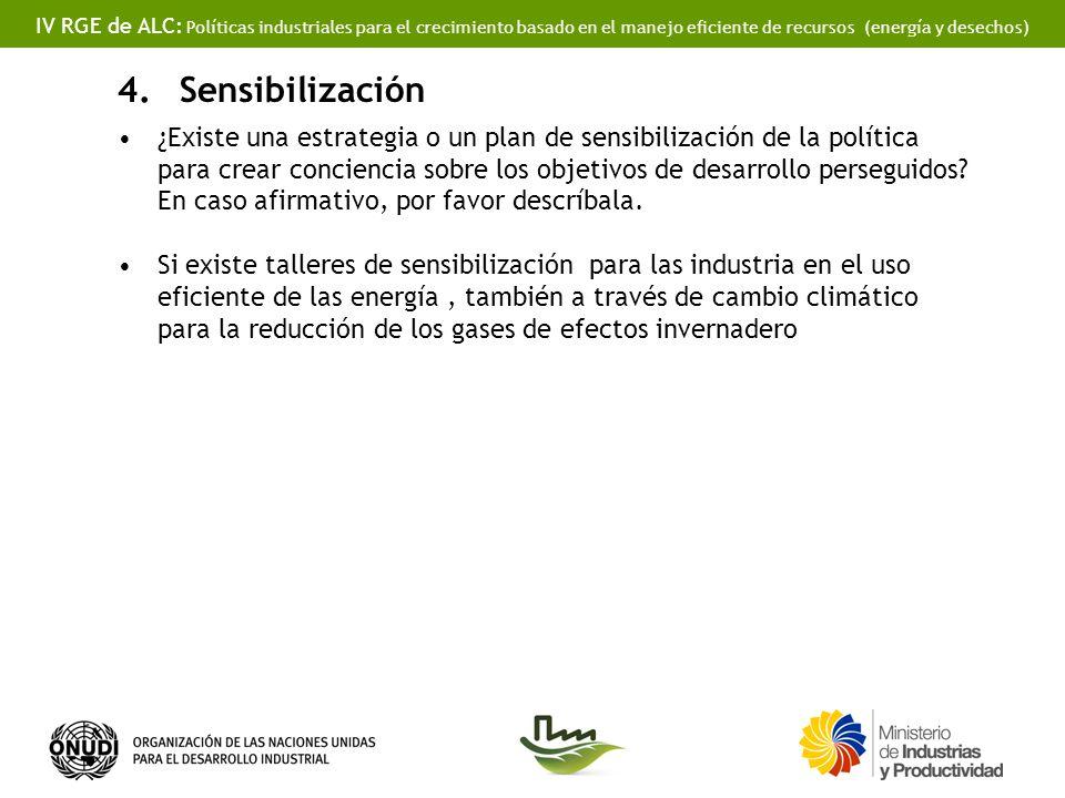 IV RGE de ALC: Políticas industriales para el crecimiento basado en el manejo eficiente de recursos (energía y desechos) 4.Sensibilización ¿Existe una