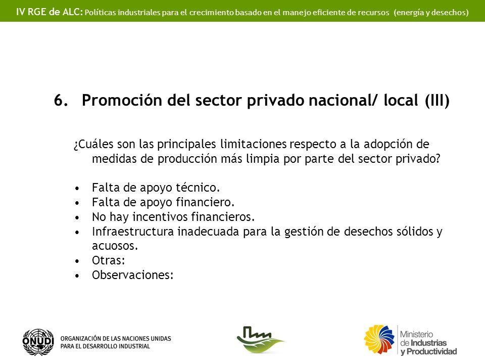 IV RGE de ALC: Políticas industriales para el crecimiento basado en el manejo eficiente de recursos (energía y desechos) 6.Promoción del sector privado nacional/ local (III) ¿Cuáles son las principales limitaciones respecto a la adopción de medidas de producción más limpia por parte del sector privado.