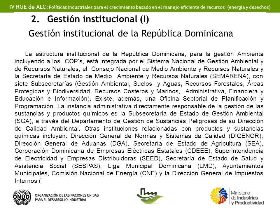 IV RGE de ALC: Políticas industriales para el crecimiento basado en el manejo eficiente de recursos (energía y desechos) 2.Gestión institucional (I) Gestión institucional de la República Dominicana La estructura institucional de la República Dominicana, para la gestión Ambienta incluyendo a los COPs, está integrada por el Sistema Nacional de Gestión Ambiental y de Recursos Naturales, el Consejo Nacional de Medio Ambiente y Recursos Naturales y la Secretaría de Estado de Medio Ambiente y Recursos Naturales (SEMARENA), con siete Subsecretarías (Gestión Ambiental, Suelos y Aguas, Recursos Forestales, Áreas Protegidas y Biodiversidad, Recursos Costeros y Marinos, Administrativa, Financiera y Educación e Información).