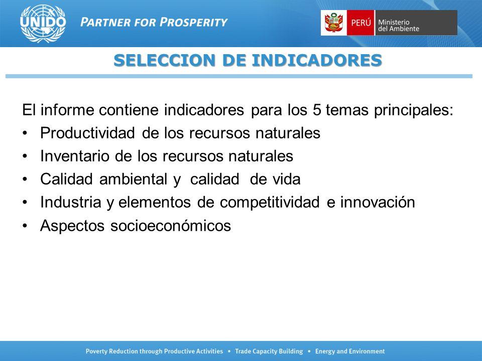 SELECCION DE INDICADORES El informe contiene indicadores para los 5 temas principales: Productividad de los recursos naturales Inventario de los recur