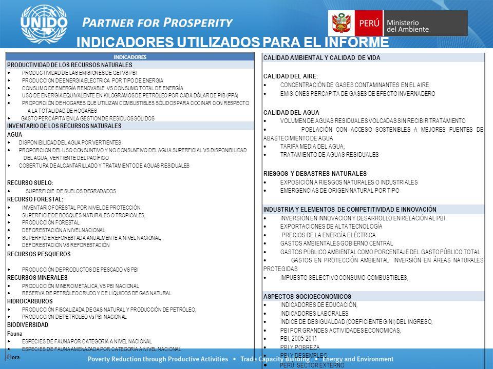 INDICADORES UTILIZADOS PARA EL INFORME INDICADORES PRODUCTIVIDAD DE LOS RECURSOS NATURALES PRODUCTIVIDAD DE LAS EMISIONES DE GEI VS PBI PRODUCCION DE