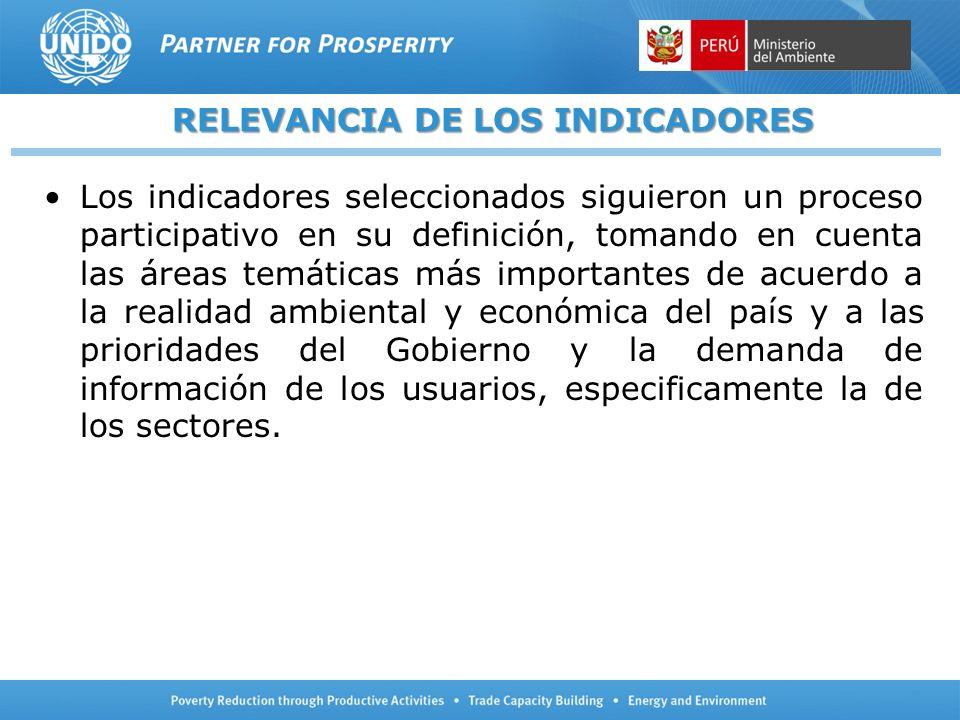 RELEVANCIA DE LOS INDICADORES Los indicadores seleccionados siguieron un proceso participativo en su definición, tomando en cuenta las áreas temáticas