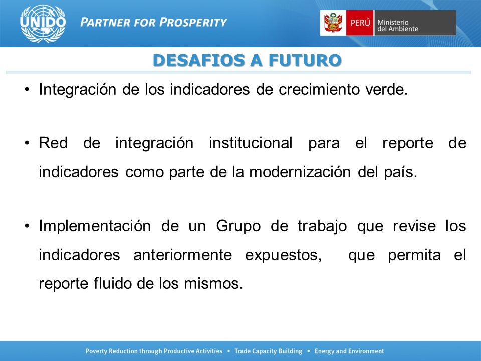 DESAFIOS A FUTURO Integración de los indicadores de crecimiento verde. Red de integración institucional para el reporte de indicadores como parte de l