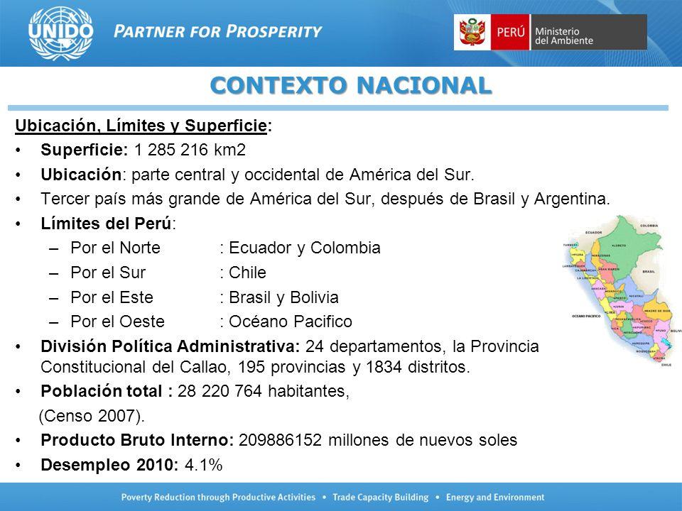 Ubicación, Límites y Superficie: Superficie: 1 285 216 km2 Ubicación: parte central y occidental de América del Sur. Tercer país más grande de América