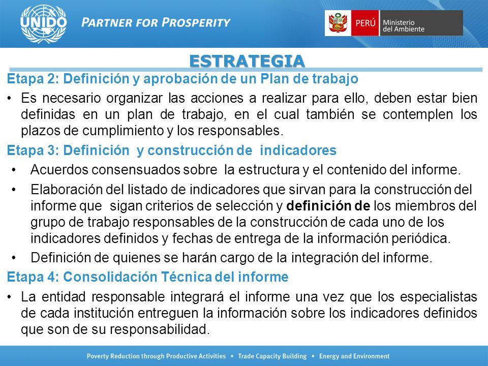 SELECCIÓN DE INDICADORES 151 Indicadores del PNUMA a través de la Iniciativa GEO Portal 45 Indicadores de ILAC (Foro de Ministros) 07 Indicadores Ambientales propuestos por el Plan Perú al 2021 59 Objetivos de Desarrollo del Milenio 95 Indicadores de la Comunidad Andina (Decisión 699- CAN) 121 Indicadores recopilados trabajados por el CONAM/MINAM con los sectores para la elaboración de los Informes del Estado del Ambiente.