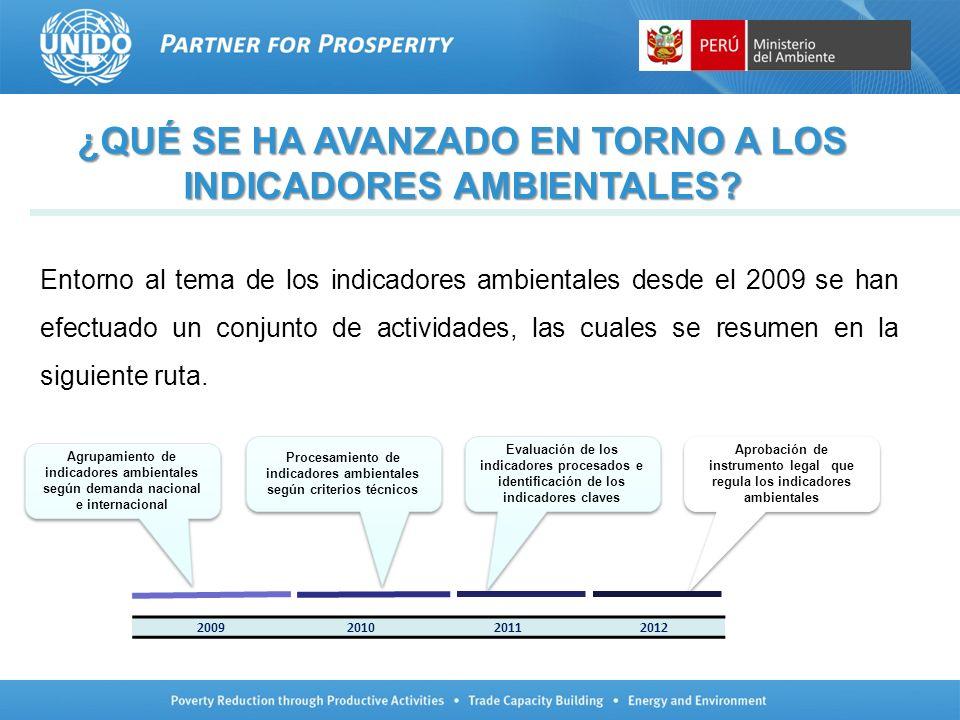 RELEVANCIA DE LOS INDICADORES Los indicadores seleccionados siguieron un proceso participativo en su definición, tomando en cuenta las áreas temáticas más importantes de acuerdo a la realidad ambiental y económica del país y a las prioridades del Gobierno y la demanda de información de los usuarios, especificamente la de los sectores.