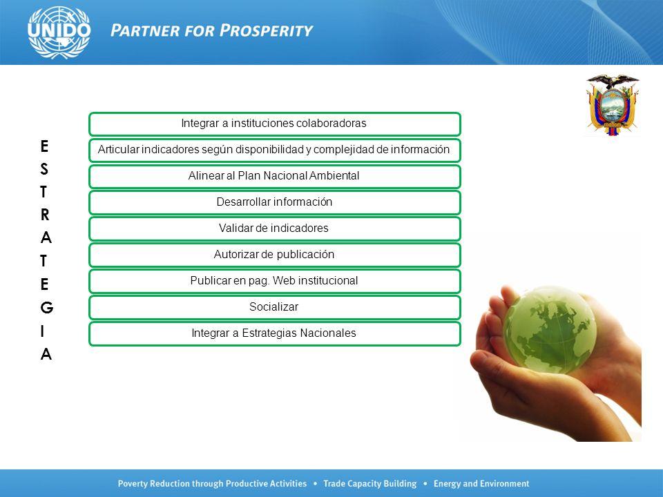 Integrar a instituciones colaboradorasArticular indicadores según disponibilidad y complejidad de informaciónAlinear al Plan Nacional AmbientalDesarro