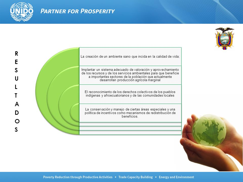 La creación de un ambiente sano que incida en la calidad de vida; Implantar un sistema adecuado de valoración y aprovechamiento de los recursos y de l