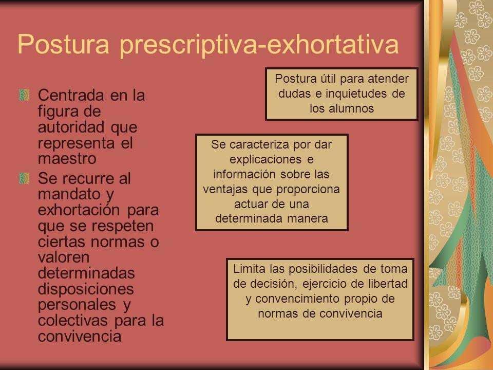 Postura prescriptiva-exhortativa Centrada en la figura de autoridad que representa el maestro Se recurre al mandato y exhortación para que se respeten