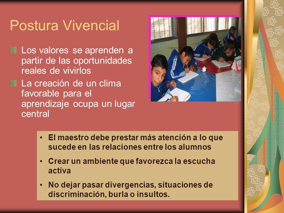 Postura Vivencial Los valores se aprenden a partir de las oportunidades reales de vivirlos La creación de un clima favorable para el aprendizaje ocupa
