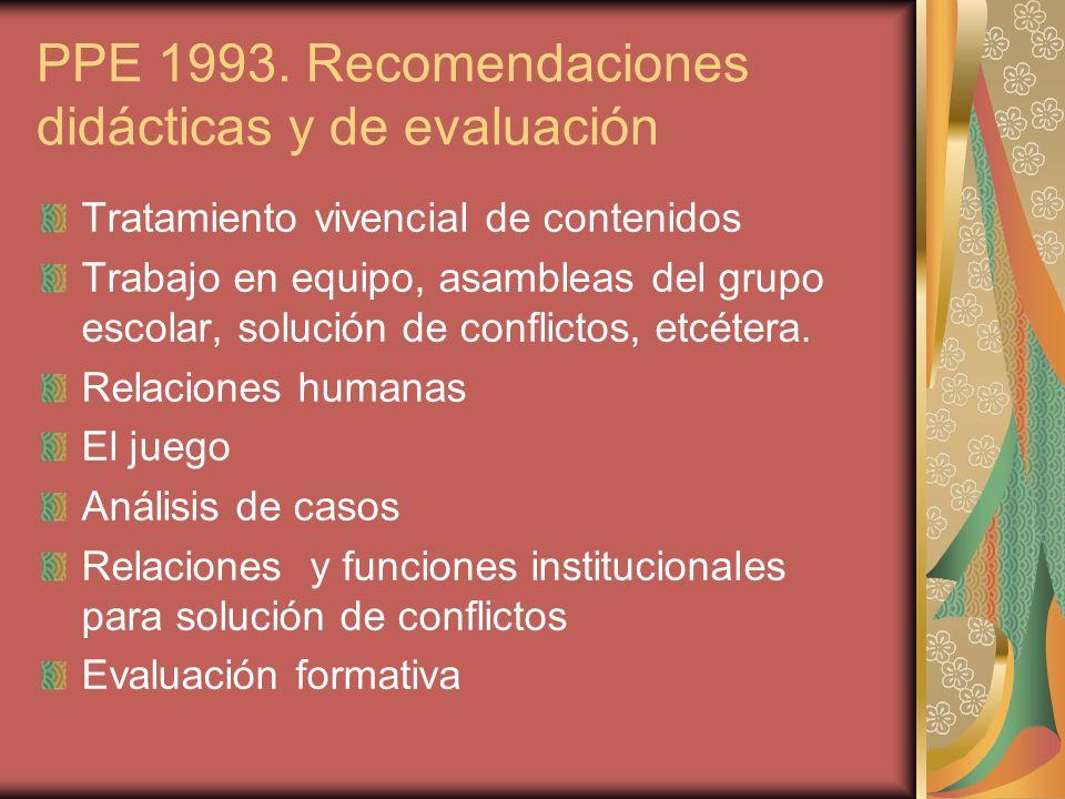 PPE 1993. Recomendaciones didácticas y de evaluación Tratamiento vivencial de contenidos Trabajo en equipo, asambleas del grupo escolar, solución de c