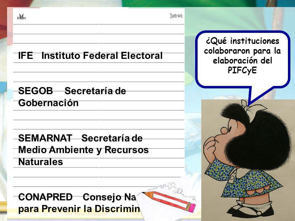 ¿Qué instituciones colaboraron para la elaboración del PIFCyE IFE Instituto Federal Electoral SEGOB Secretaría de Gobernación SEMARNAT Secretaría de M