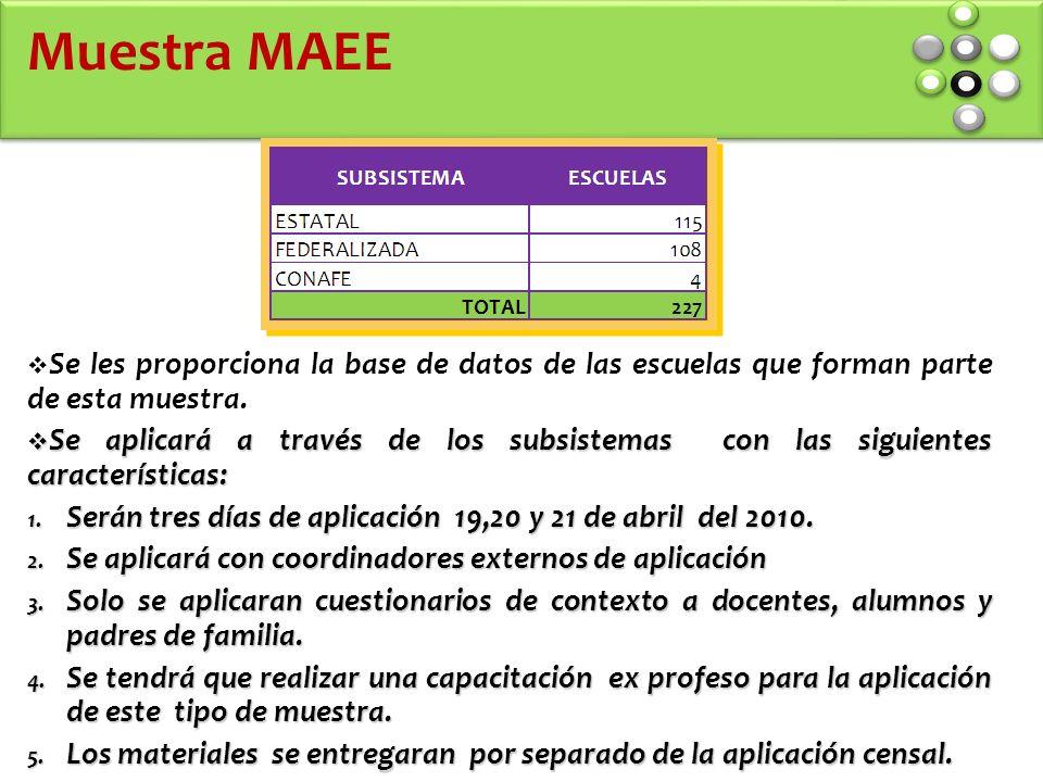 Muestra MAEE Se les proporciona la base de datos de las escuelas que forman parte de esta muestra.