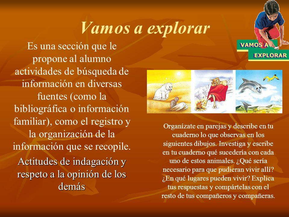 Vamos a explorar Es una sección que le propone al alumno actividades de búsqueda de información en diversas fuentes (como la bibliográfica o informaci