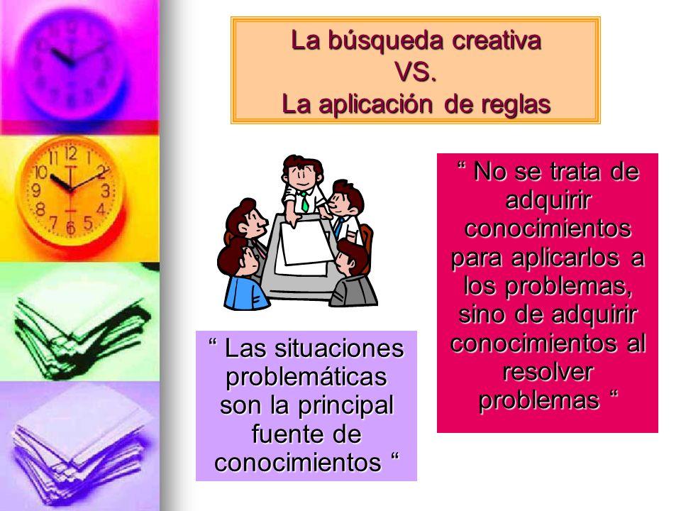 La búsqueda creativa VS. La aplicación de reglas No se trata de adquirir conocimientos para aplicarlos a los problemas, sino de adquirir conocimientos