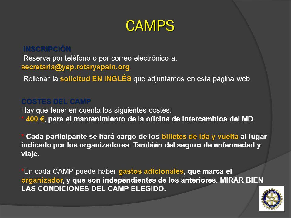 COSTES DEL CAMP billetes de ida y vuelta gastos adicionales organizador COSTES DEL CAMP Hay que tener en cuenta los siguientes costes: * 400, para el