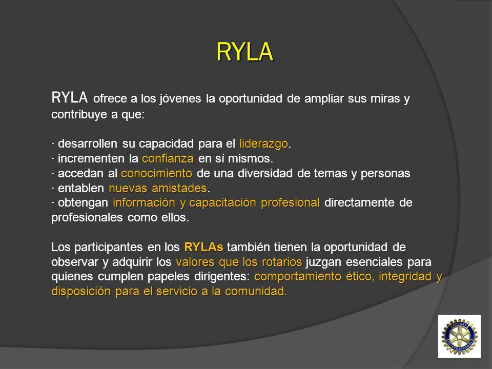 RYLA ofrece a los jóvenes la oportunidad de ampliar sus miras y contribuye a que: liderazgo confianza conocimiento nuevas amistades información y capa