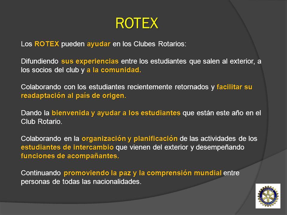 ROTEX ayudar sus experiencias a la comunidad. Los ROTEX pueden ayudar en los Clubes Rotarios: Difundiendo sus experiencias entre los estudiantes que s