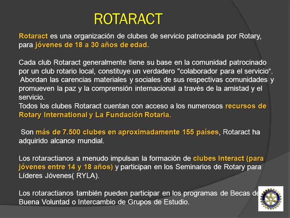 Rotaract jóvenes de 18 a 30 años de edad. Rotaract es una organización de clubes de servicio patrocinada por Rotary, para jóvenes de 18 a 30 años de e