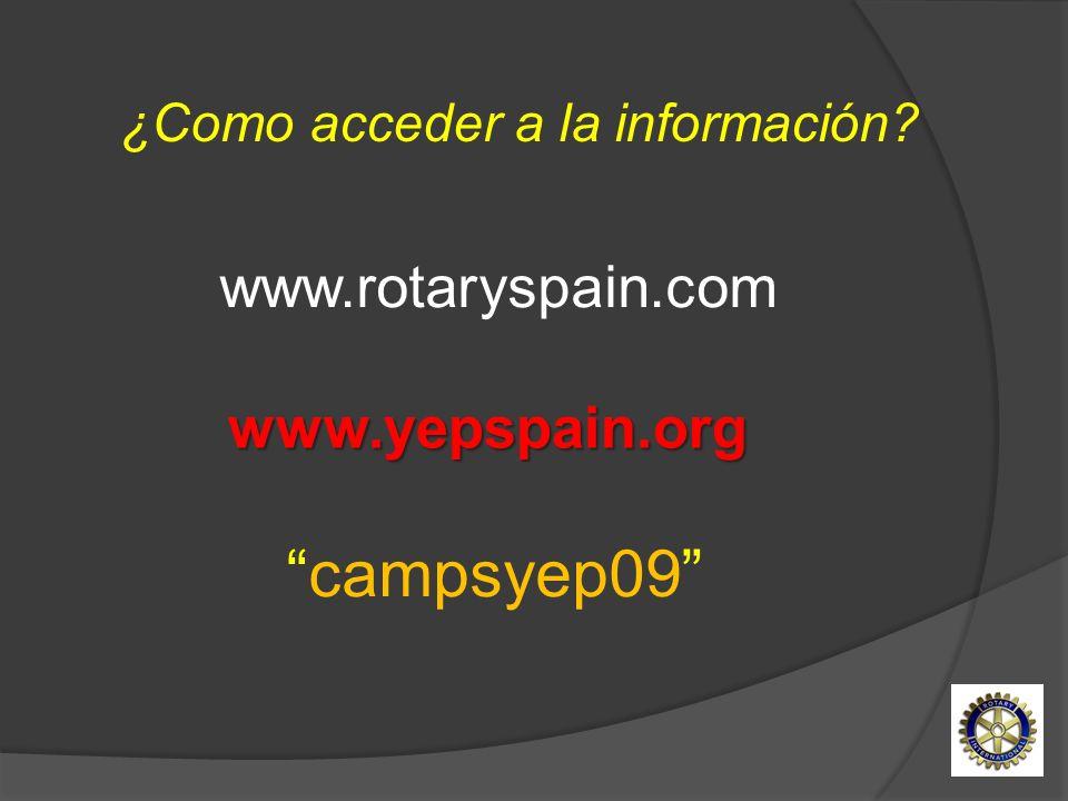 campsyep09 www.rotaryspain.comwww.yepspain.org ¿Como acceder a la información?