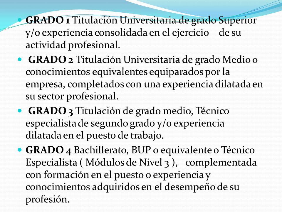 GRADO 5 Conocimientos adquiridos en el desempeño de su profesión o Escolares sin Titulación o de técnico auxiliar ( Módulos de Nivel 2 ) con formación especifica en el puesto, o conocimientos adquiridos en el desempeño de su profesión.