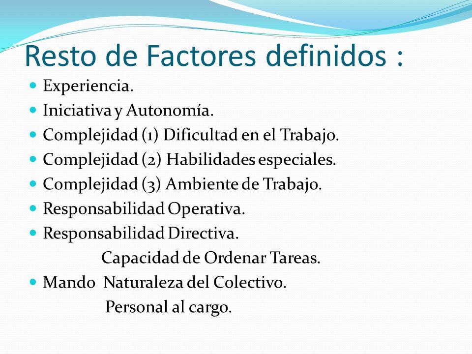 Resto de Factores definidos : Experiencia. Iniciativa y Autonomía.