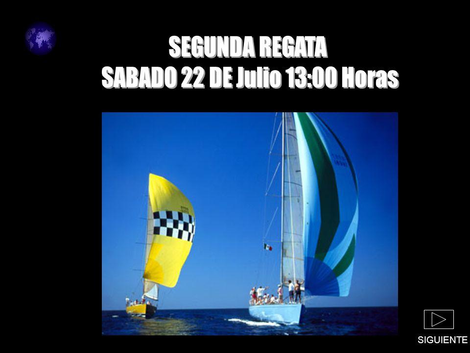 LUGAR : BAHIA DE SALINAS HORA : 13:00 SIGUIENTE RECORRIDO : CIRCUITO COSTERO A PARTIDA : 13.00 HORAS LUGAR : BAHIA DE SALINAS FACTOR : 1 PRIMERA REGATA VALIDA PARA EL CAMPEONATO NACIONAL