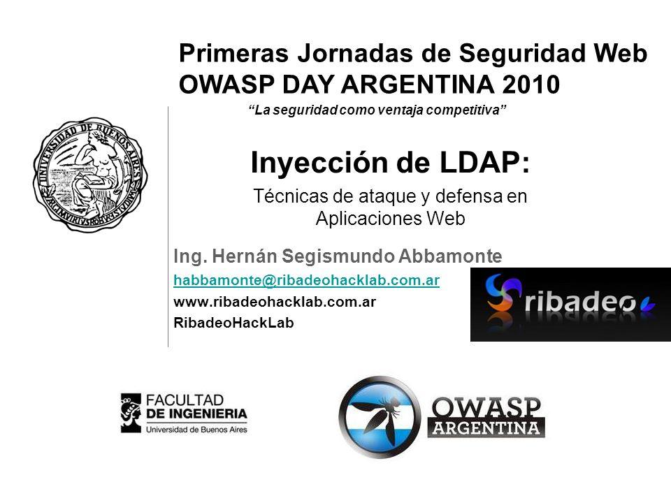 Primeras Jornadas de Seguridad Web OWASP DAY ARGENTINA 2010 La seguridad como ventaja competitiva Ing. Hernán Segismundo Abbamonte habbamonte@ribadeoh