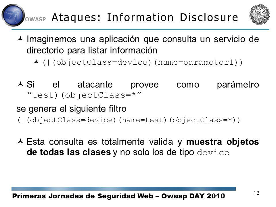 Primeras Jornadas de Seguridad Web – Owasp DAY 2010 OWASP 13 Ataques: Information Disclosure Imaginemos una aplicación que consulta un servicio de dir