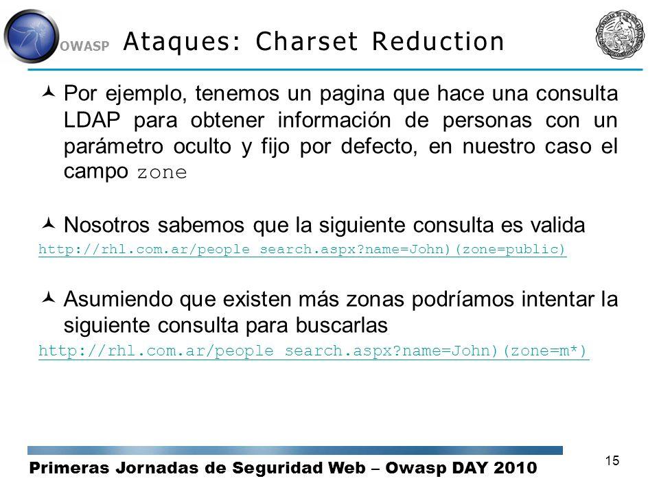 Primeras Jornadas de Seguridad Web – Owasp DAY 2010 OWASP 15 Ataques: Charset Reduction Por ejemplo, tenemos un pagina que hace una consulta LDAP para