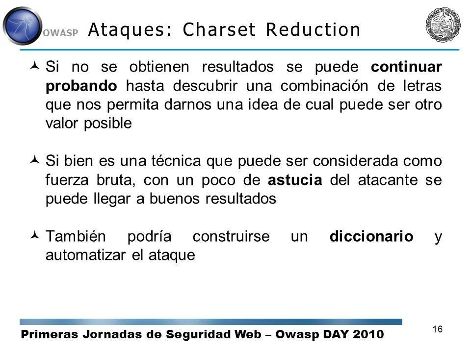 Primeras Jornadas de Seguridad Web – Owasp DAY 2010 OWASP 16 Ataques: Charset Reduction Si no se obtienen resultados se puede continuar probando hasta