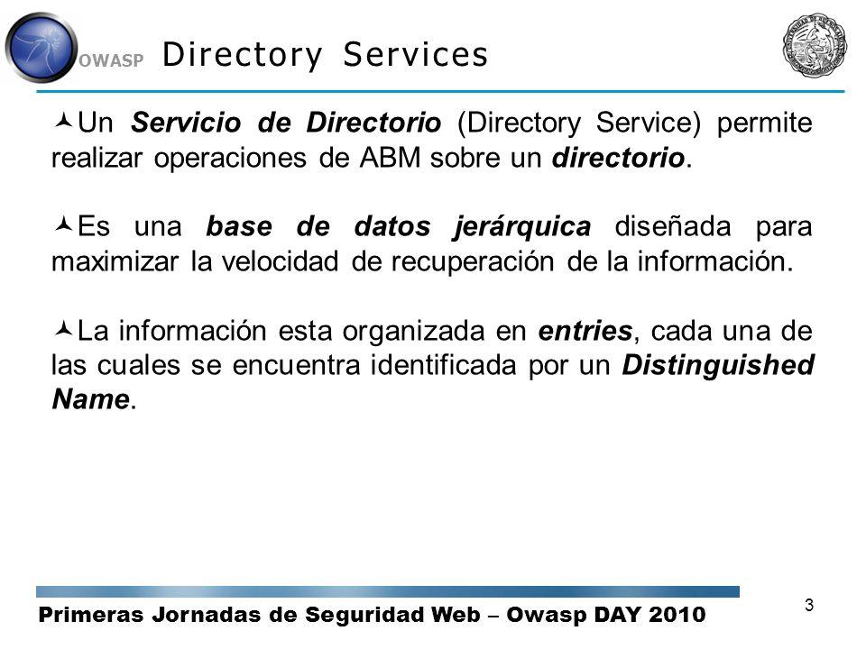 Primeras Jornadas de Seguridad Web – Owasp DAY 2010 OWASP 3 Directory Services Un Servicio de Directorio (Directory Service) permite realizar operacio