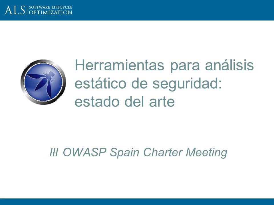 2 III OWASP Spain Chapter Meeting Resumen: En esta ponencia se examina la situación actual de la clase de herramientas de análisis estático de seguridad, que sin ejecutar el código del software, tratan de identificar las vulnerabilidades explotables en las aplicaciones y servicios web.