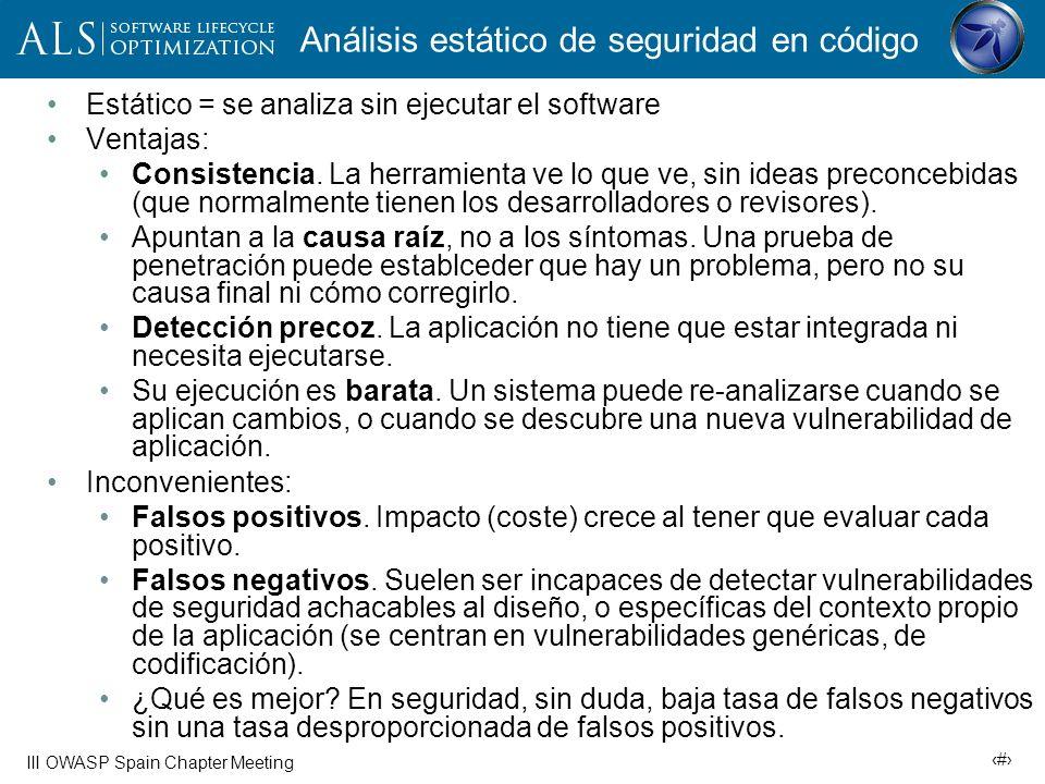 15 III OWASP Spain Chapter Meeting Las interioridades del análisis estático Las etapas iniciales son similares a las que sigue un compilador.