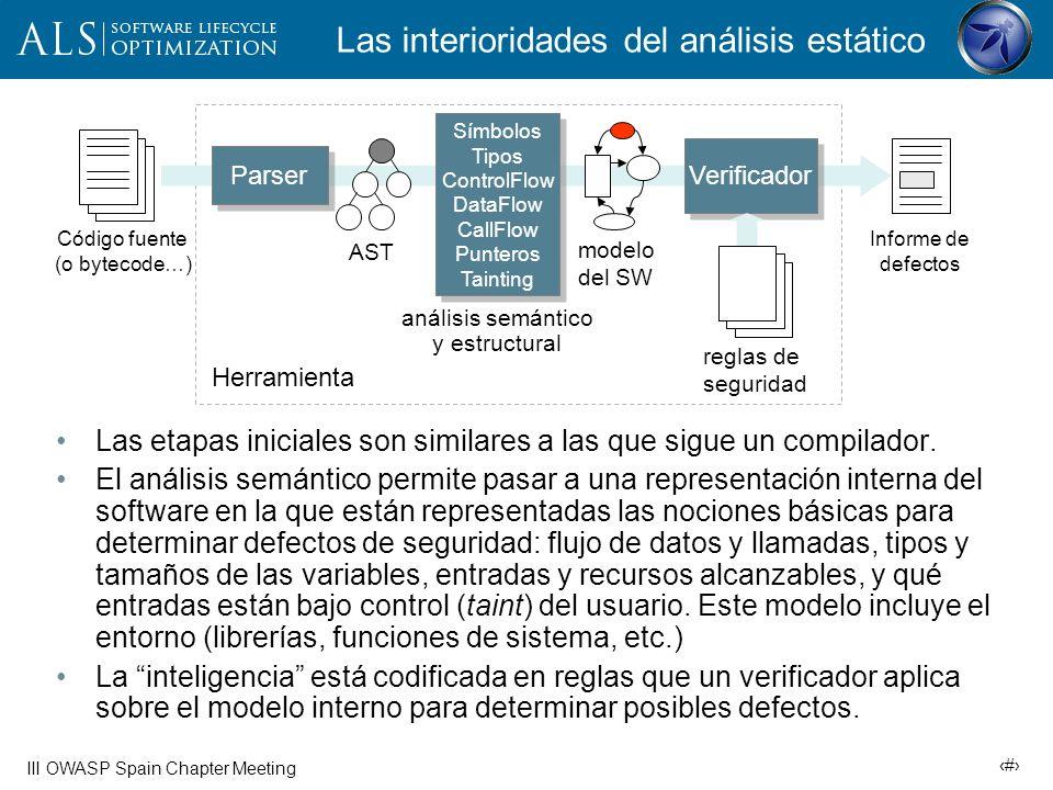 16 III OWASP Spain Chapter Meeting Algunos tipos de análisis Análisis semántico: Funciones anotadas con precondiciones y postcondiciones que resumen el comportamiento de la función.