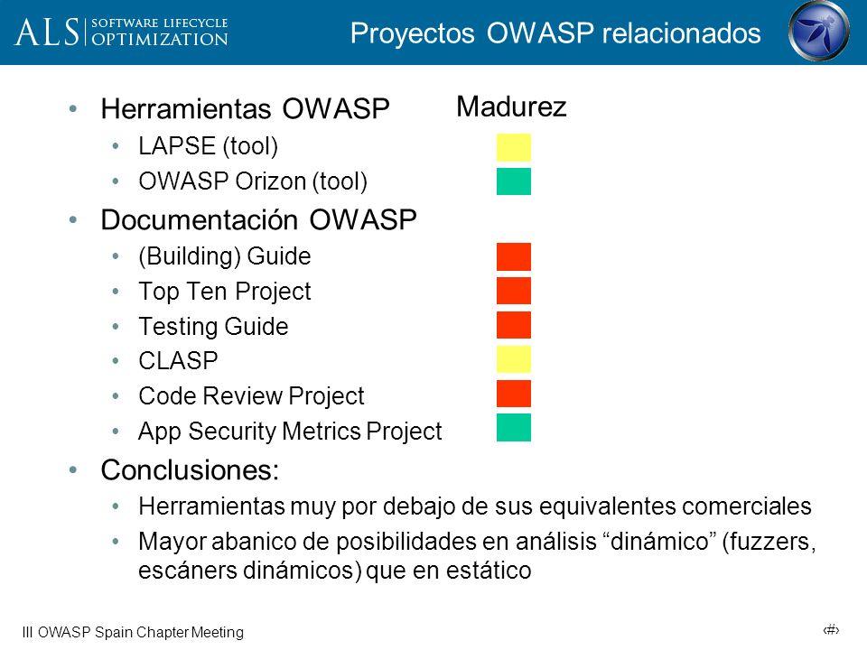 21 III OWASP Spain Chapter Meeting Ejemplo open-source: OWASP LAPSE Plugin Eclipse (Java) Muy básico Basado en tainting Detecta vulnerabilidades de tipo inyección