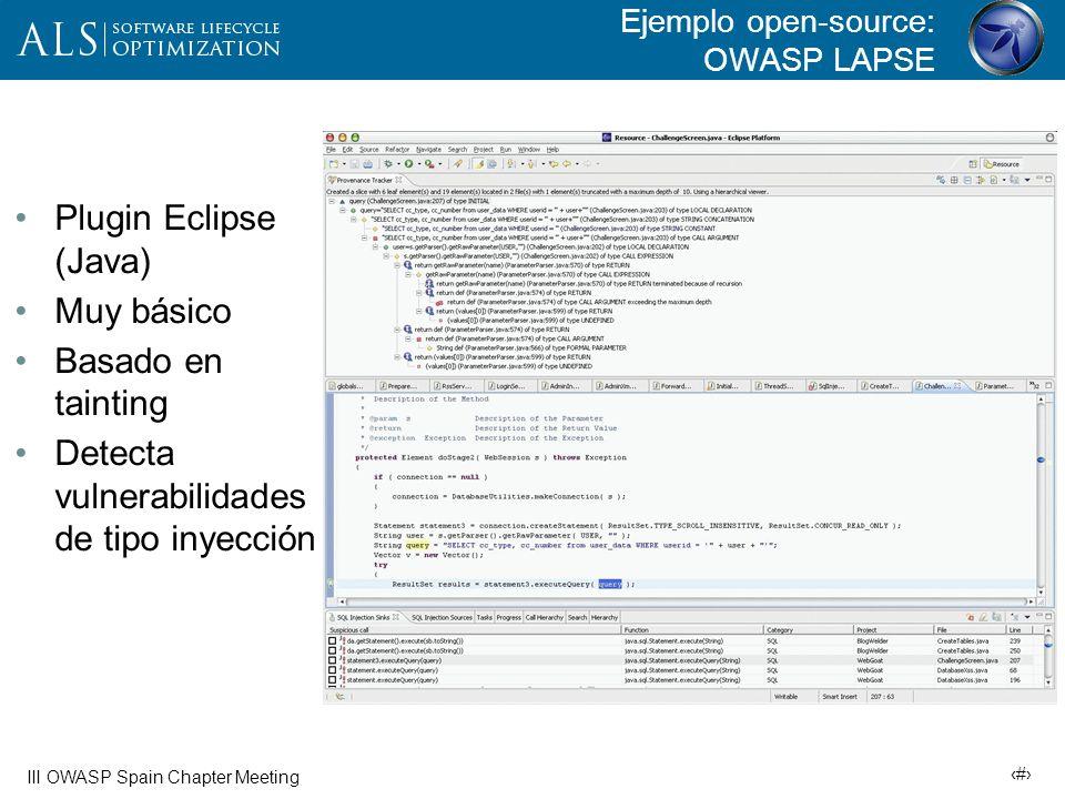 22 III OWASP Spain Chapter Meeting Ejemplo: Análisis de Tomcat 5.5 (Fortify opensource)